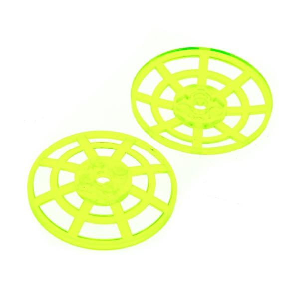 2 x Lego System Sat Schüssel transparent neon grün 6 x 6 Radar Gitter Schild Schirm ( Typ 2 Unterseite eckig) 7691 6453 30234 4285b