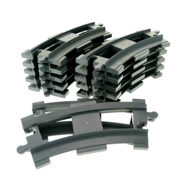 12 x Lego Duplo Schienen gebogen Kurve neu-dunkel grau Schiene Eisenbahn Zug Lok 4211015 6378