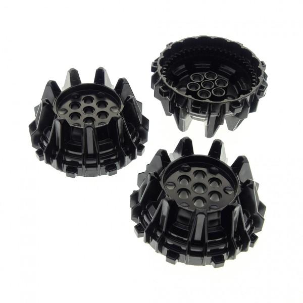 3 x Lego System Rad schwarz hart Plastik Bohrkopf mit Spikes für Set Power Miners 8960 4538782 64712
