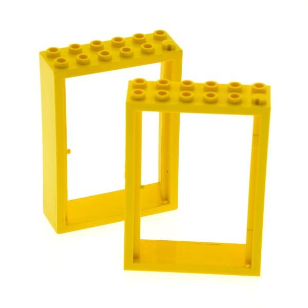 2 x Lego System Fabuland Tür Rahmen gelb 2x6x7 Haustür Set 3679 3668 3667 3654 4071