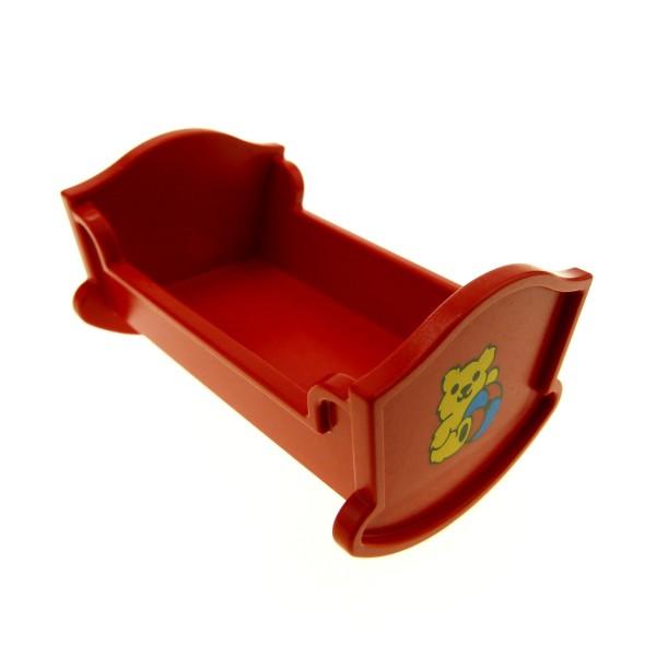 1 x Lego Duplo Möbel Wiege Bett rot mit Teddy Bär Aufkleber Puppenhaus Schlafzimmer Puppenbett Belville 4908pb01