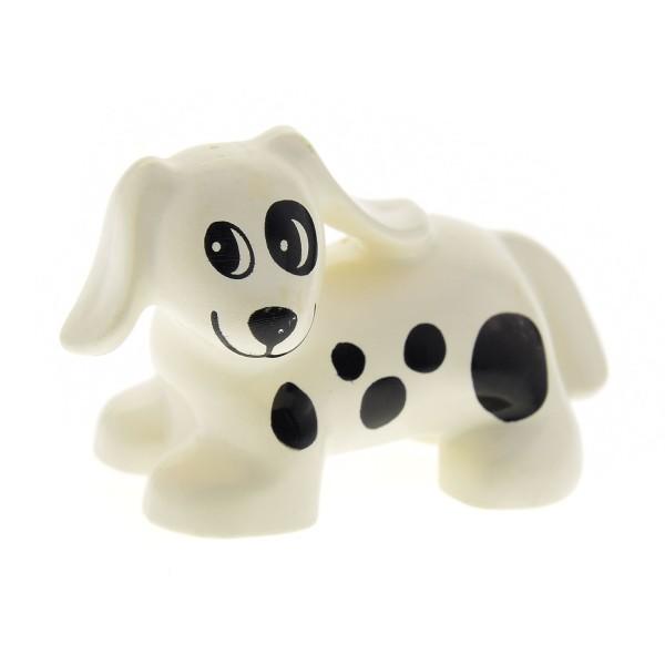 1 x Lego Duplo Tier Hund weiss mit Flecken Punkte schwarz Spot Haustier Bauernhof 9148 3093 2818 31101