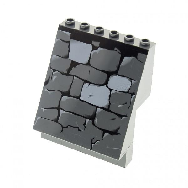 1 x Lego System Panele neu-dunkel grau 4x6x6 bedruckt Mauer Steine schräg Wand abgewinkelt für Castle Burg Set 7785 8802 8877 30156pb02