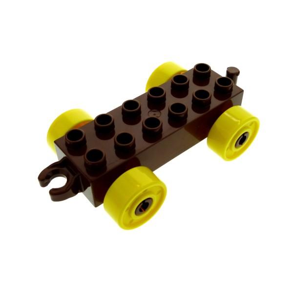 1 x Lego Duplo Auto Anhänger 2x6 reddish rot braun Reifen Rad gelb Schiebe Zug Kupplung offen für Set 10539 10577 10569 11248c01