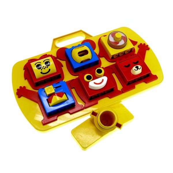 1 x Lego Duplo Steck Bau Stein Lern Spiel Motorik Kasten Platte (46.5 x 29 x 7.5 cm) gelb rot blau mit Kinderbett Halterung 2072