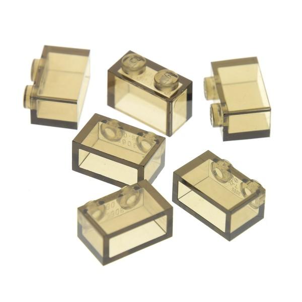 6 x Lego System Glas Bau Stein transparent schwarz 1x2 Baustein Basic Glasstein ohne Boden Röhre 3065111 3065 35743