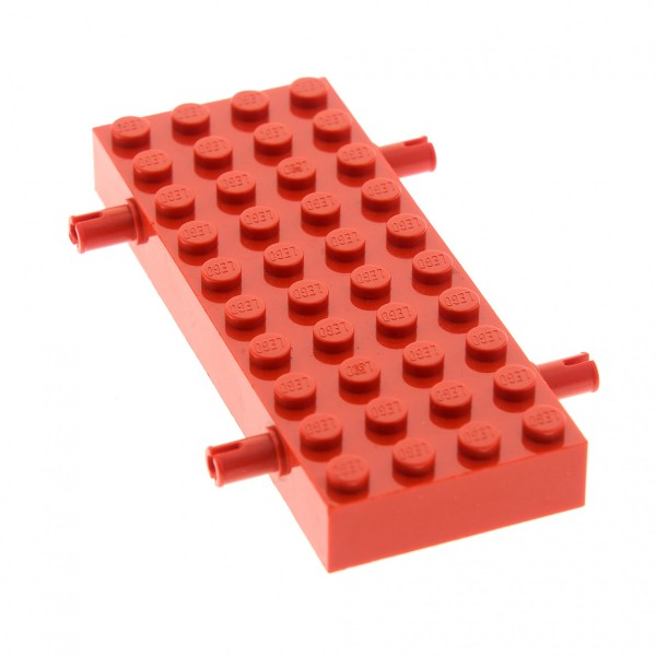 1 x Lego System Fahrgestell rot 4x10 mit 4 Pins LKW Unterbau Platte 10 x 4 Noppen Chassis 4144354 30076