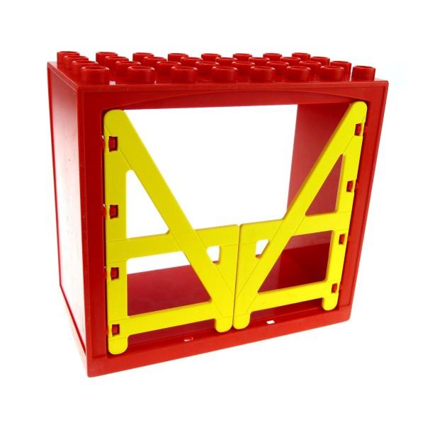 1 x Lego Duplo Gebäude Scheune rot gelb 4x8x6 schmal Haus Tür Tor Gatter Puppenhaus Bauernhof Farm 2294 6432