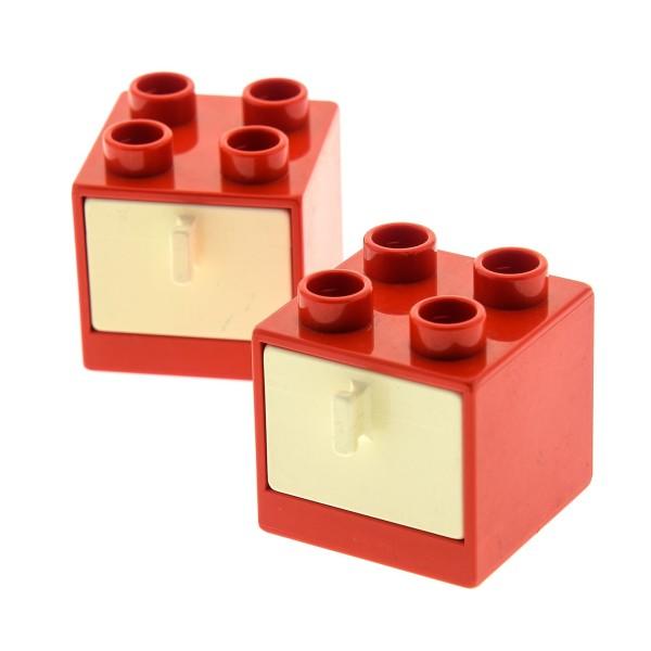 2 x Lego Duplo Möbel Schrank rot creme weiss 2x2x1.5 Kommode mit Schublade 2x2 Schlafzimmer Küche Bad Puppenhaus 4890 4891