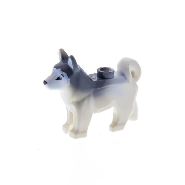 1 x Lego System Tier Hund weiss Husky Fell neu-dunkel grau Schlittenhund Artic Station 60097 70734 60036 6076467 16606pb001