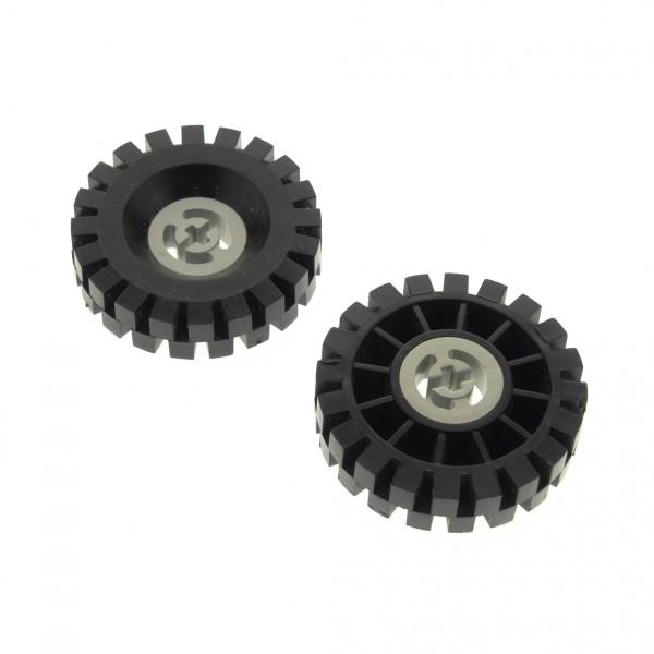 2 x Lego Technic Rad schwarz 17x43 Felge alt-hell grau Reifen voll Gummi Technik 3482 3634 363426 3482c03