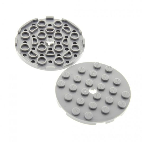 2 x Lego System Rund Stein neu-hell grau 6 x 6 Rundstein mit Loch Platte Scheibe für Drehteller Star Wars 11213