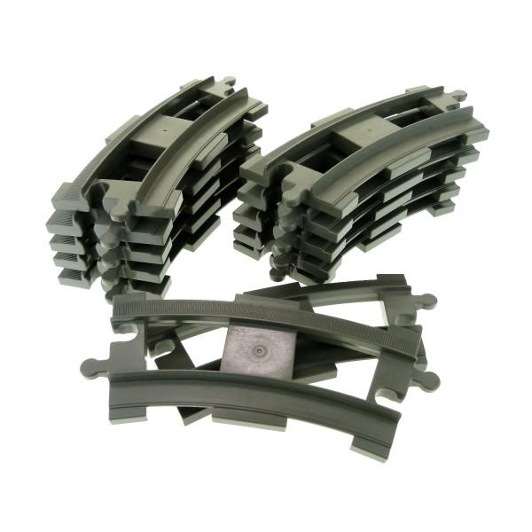 12 x Lego Duplo Schienen gebogen Kurve alt-dunkel grau Schiene Eisenbahn Zug Lok 637827 6378