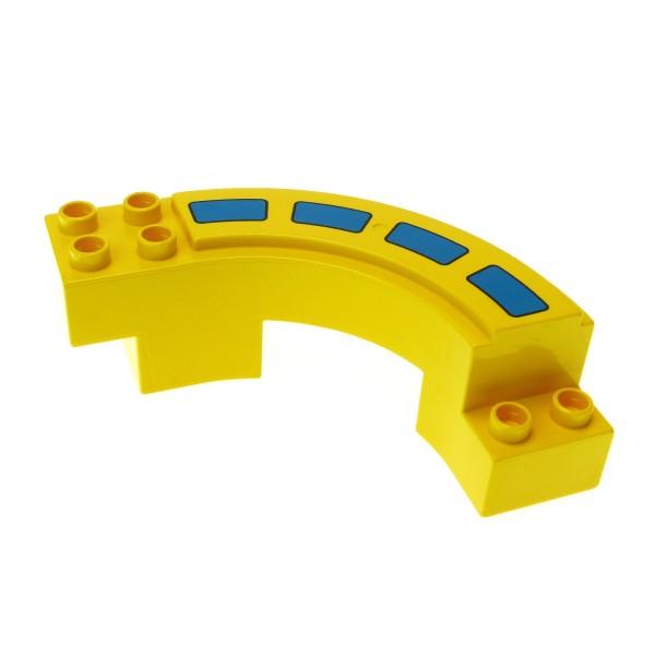 1 x Lego Duplo Rennbahn gelb mit Fahrbahn Markierung gebogen Kurve Autobahn Rennstrecke Hochbahn Set 2280 2284 2281 9067 31205pb01