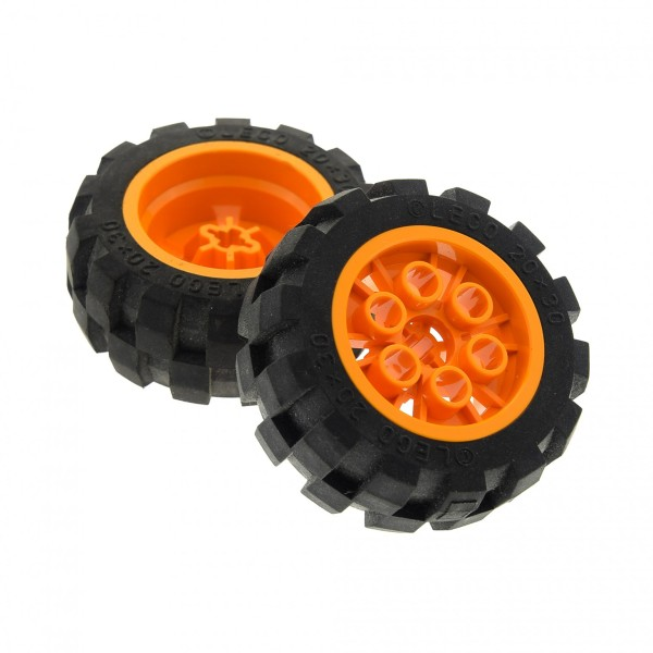 2 x Lego Technic Rad schwarz 20x30 Ballon Reifen Medium Räder Felge medium hell orange Technik Auto Fahrzeug (6582 / 6581) 6582c01