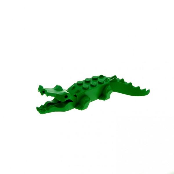 1 x Lego System Tier Krokodil grün Alligator mit 8 Zähnen Zoo Safari Jungle Crocodile Wasser Adventures 602628 6026c01