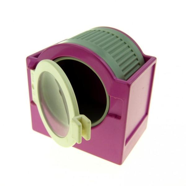 1 x Lego Duplo Möbel Waschmaschine rosa dunkel pink hell grau Trommel Tür Klappe Puppenhaus komplett 6480c01