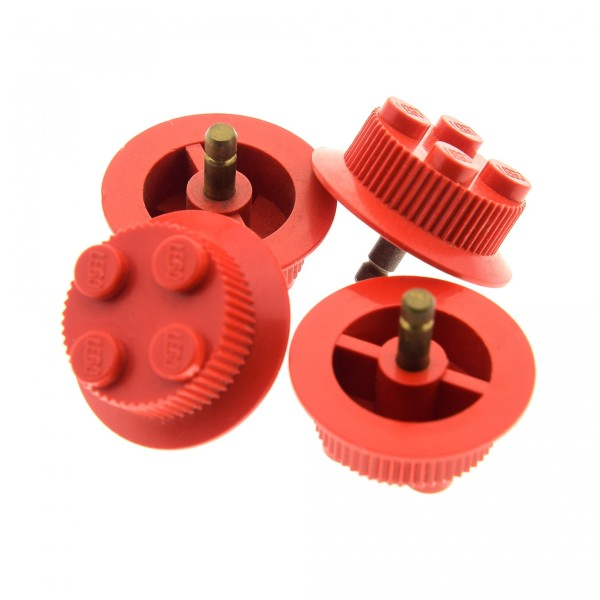 4 x Lego System Eisenbahn Rad Felge solo rot mit 2x2 Noppen mit Rillen Traktionszähne Lok Zug Train Waggon wheel1a