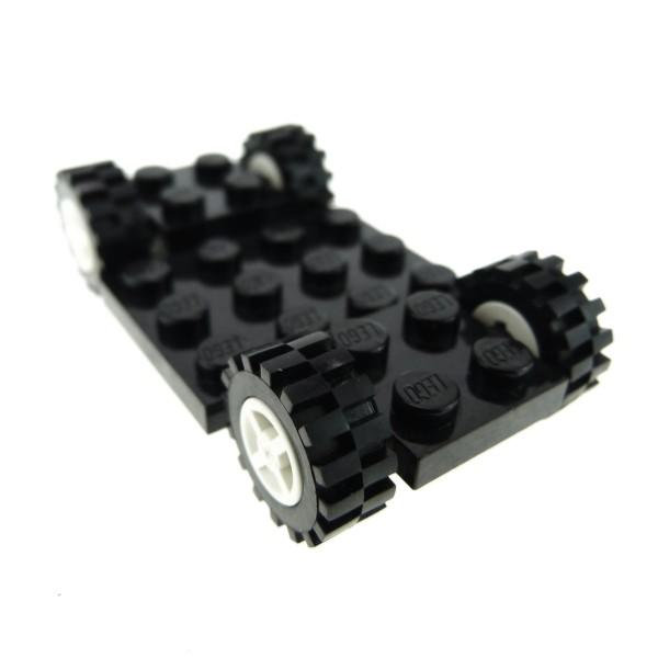 1 x Lego System Fahrgestell schwarz 4x7 2/3 mit Räder Rad weiss klein mit Profil Auto Unterbau Bau Platte Chassis (4624 / 3641) 244126 4624c02 2441