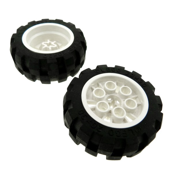 2 x Lego Technic Rad schwarz weiß 20x30 Ballon Reifen Medium Räder Felge Technik Auto Fahrzeug 6581 6582c01