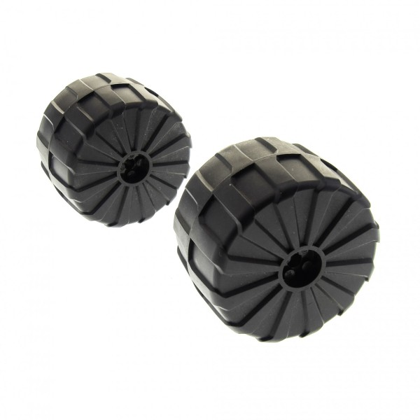 2 x Lego System hart Plastik Rad Felge schwarz gross 71mm D. x 47mm für Set M-Tron 6989 2573