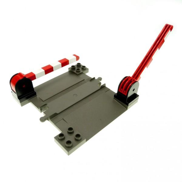 1 x Lego Duplo Bahnübergang alt-dunkel grau mit 2 x Schranke schwarz rot weiss Schiene Eisenbahn Kreuzung 6405c02 6391