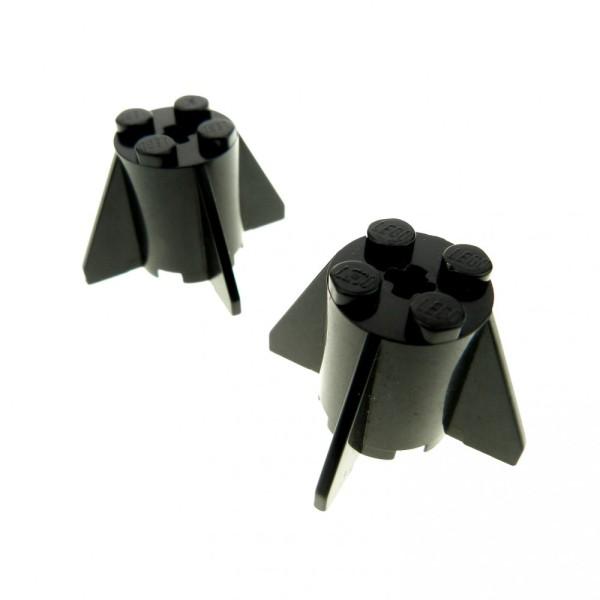 2 x Lego System Triebwerk schwarz 2x2x2 Raketen Unterteil Turbine Düse Rakete mit Flügel 4591