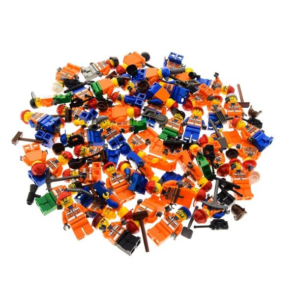 5 x Lego System City Mini Figuren Figur Torso orange bedruckt Bau Arbeiter Jacke Reflektor Streifen mit Zubehör Kopfbedeckung zufällig gemischt