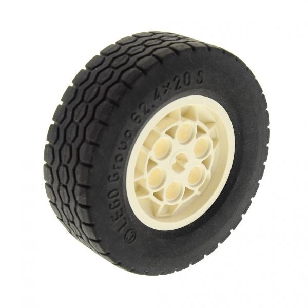 1 x Lego Technic Rad Reifen schwarz 62.4x20 Felge weiss 62.4 x 20 S Technik Auto Fahrzeug für Barcode Multi-Set ( 32020 / 32019 ) Set 8479 10187 32020c01