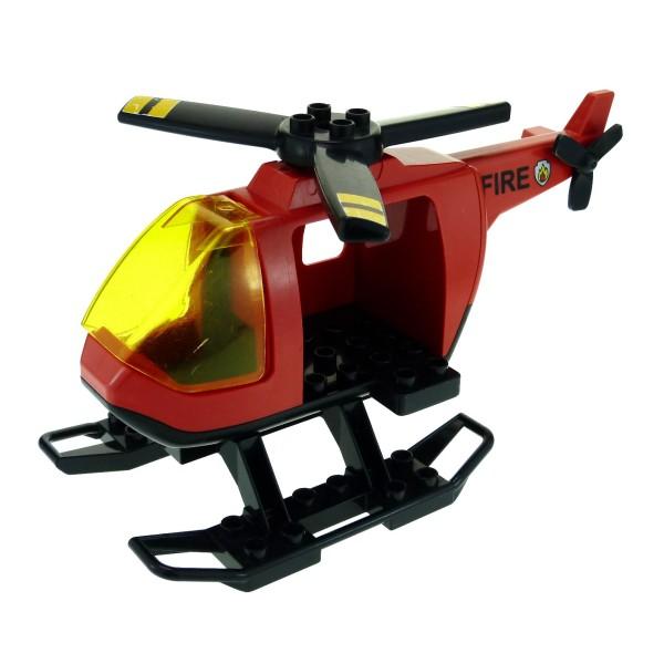 1 x Lego Duplo Hubschrauber rot schwarz Feuerwehr fire Heli Helicopter groß mit Kufen Propeller mit Streifen für Set 4967 6346 52932 6345 6343pb04