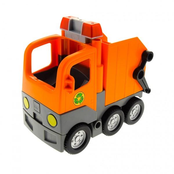 1 x Lego Duplo Müll Wagen orange mit Sirene Warn Leuchte Licht LKW Laster Auto Lastwagen Zugmaschine Müllabfuhr 2318c02 2364c01 1326c01 48125c03pb01