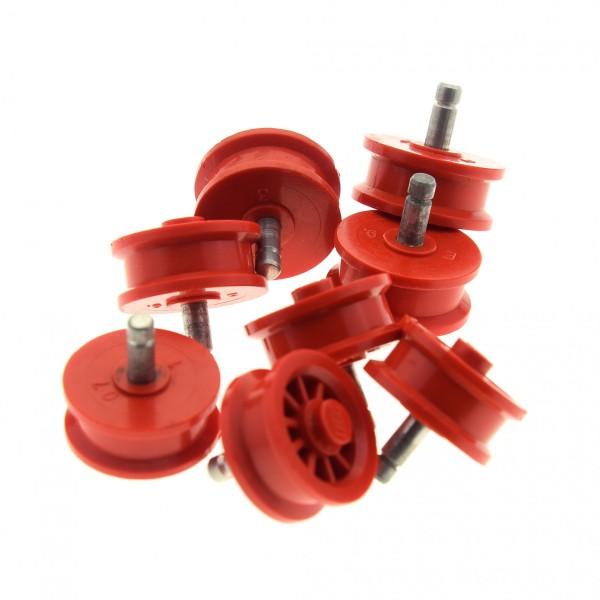 8 x Lego System Rad old rot 2x2 Speichen mit 1 Noppe Räder Felge solo Pin Metall grau Auto Kutsche bb19