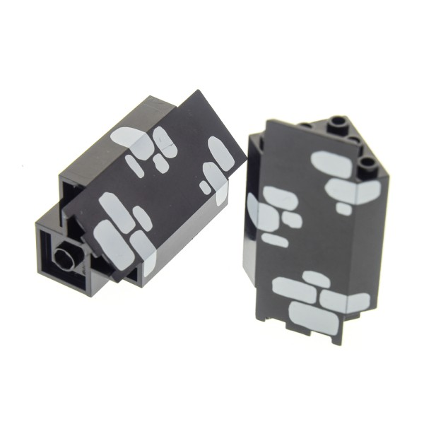 2 x Lego System Mauerteil schwarz 3x3x6 Panele Ecke bedruckt Steine neu-hell grau Mauer Wand Ritter
