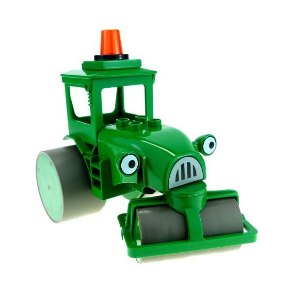 1 x Lego Duplo Bau Fahrzeug Rollo grün Walze neu-dunkel grau Bob der Baumeister Figur Roley mit Leuchte 3295 42248 42250 42254 droleyc01