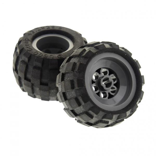 2 x Lego Technic Räder Rad 43.2x28 S schwarz Felge neu-dunkel grau Balloon Reifen Auto Fahrzeug Technik Set 8384 6580 6579 6580c01
