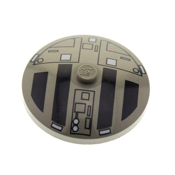 1 x Lego System Schild alt-dunkel grau 4 x 4 bedruckt rund Star Wars Sat Radar Schüssel Schirm 3960px4