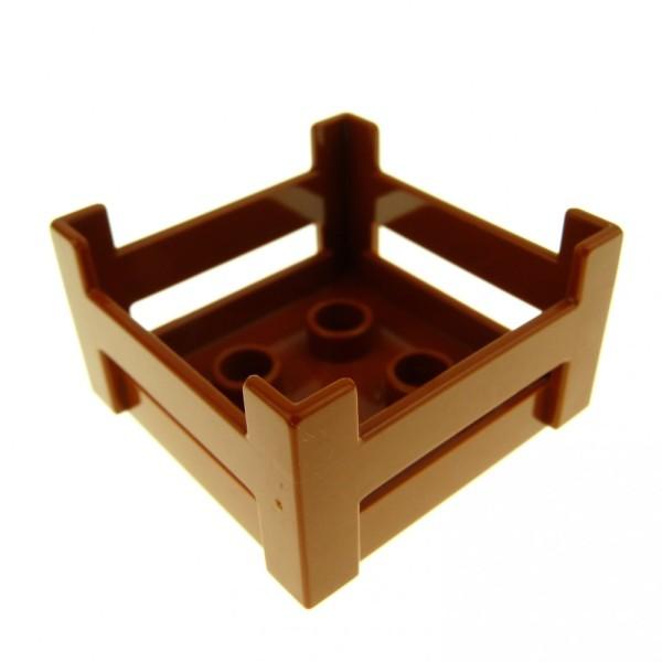 1 x Lego Duplo Möbel Kiste dunkel orange braun Korb Container Puppenhaus Zoo Möbel Holzkisten-Style 4158473 6446