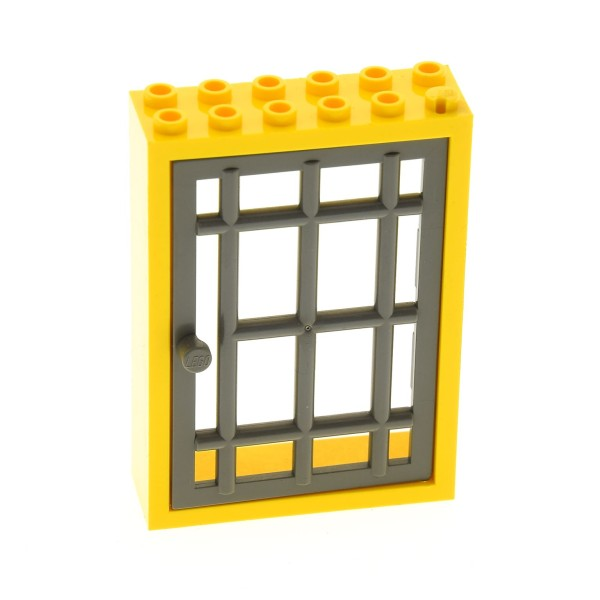 1 x Lego System Tür Rahmen gelb 2x6x7 mit Gitter Tür alt-dunkel grau 1x6x7 Tor Kerker Gefängnis Burg Verlies Set 9376 3675 3672 6270 4071 4611
