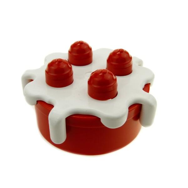 1 x Lego Duplo Nahrung Torte rot weiss Kuchen Essen Küche Puppenhaus Figur Zubehör 4121937 31287c01