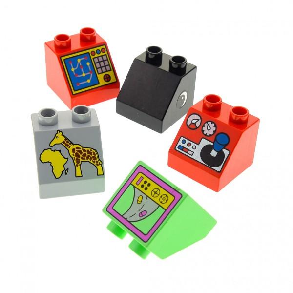 5 x Lego Duplo Bau Basic Dach Schräg Stein 45° 2x2 bedruckt Motiv Farbe zufällig gemischt z.B. rot gelb grau Monitor Telefon TV Schalttafel 6474