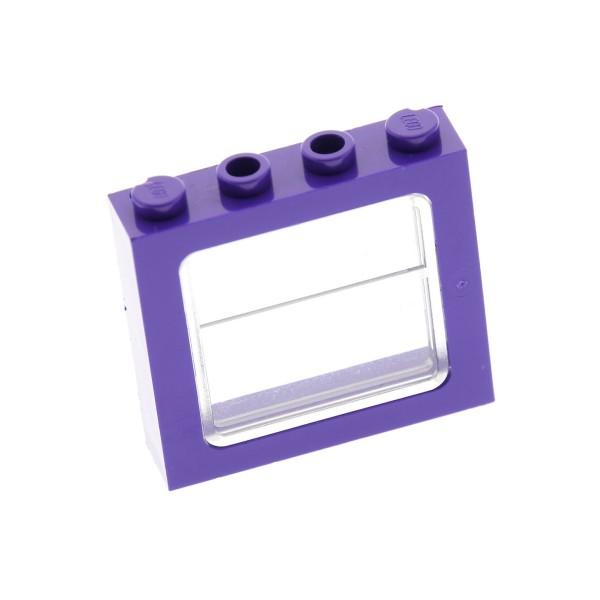 1 x Lego System Fenster violett dunkel lila transparent weiss 1x4x3 Zug Bus für Set Harry Potter Der Fahrende Ritter Set 4755 4866 403440 4225262 4034 6556