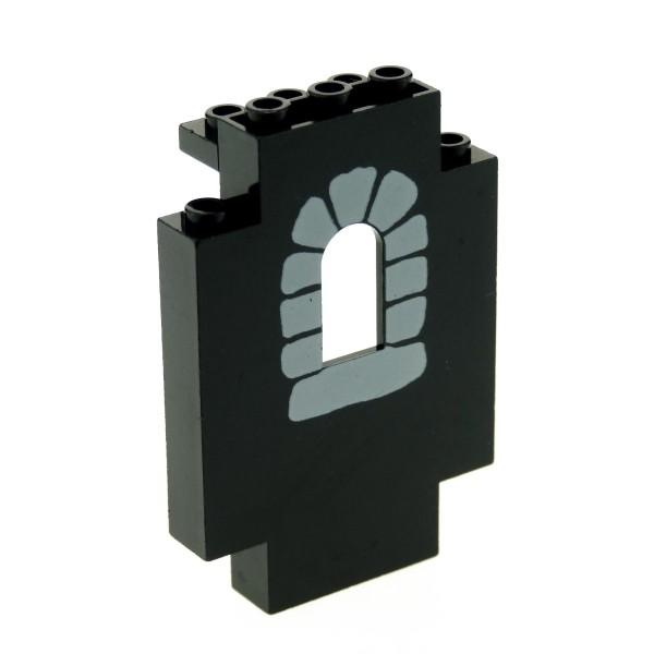 1x Lego Mauerteil schwarz 2x5x6 Panele bedruckt Stein Mauer Set 6086 4444p04