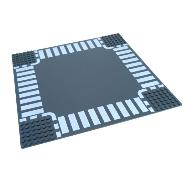 1 x Lego System Bau Platte 6N Kreuzung neu-dunkel grau 32 x 32 Noppen 32x32 Straße Zebrastreifen Fußgängerübergang 7280 4277477 44343px3