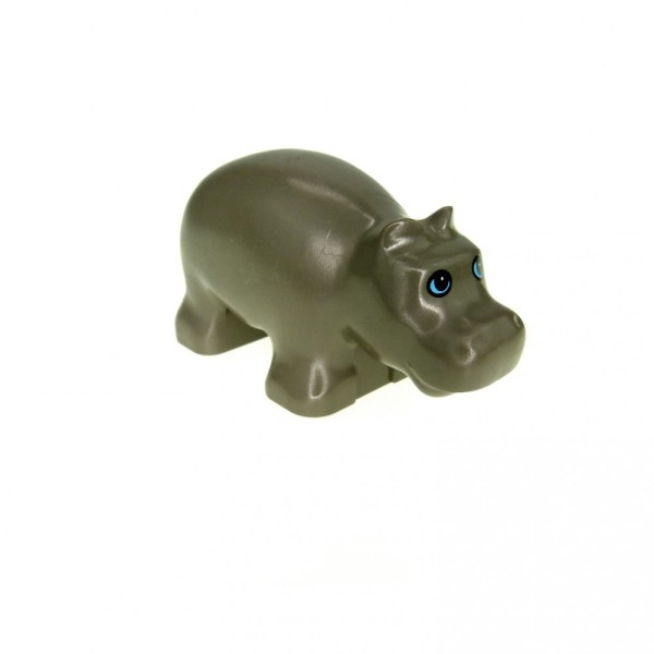 1 x Lego Duplo Tier Nilpferd Baby klein alt-dunkel grau Flusspferd Zoo Safari Hippo 2276px1