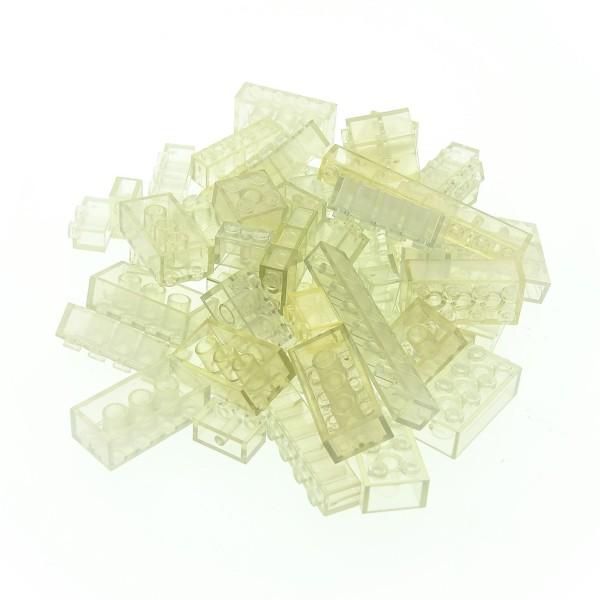 50 x Lego System Glassteine Bau Basic Steine transparent weiss bläulich Form und Größe zufällig gemischt