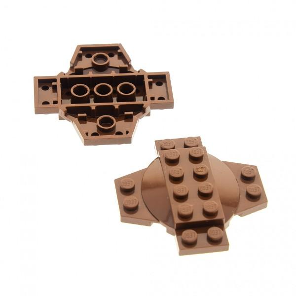 2 x Lego System Kreuz Platte braun 6x6x2/3 mit Kuppel Kessel Deckel Standfuß Star Wars 7316 7127 4143018 30303