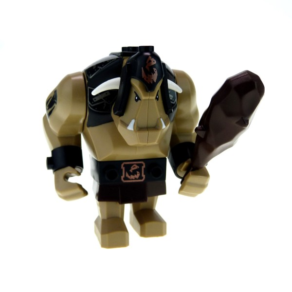 1 x Lego System Fantasy Era - Troll dunkel beige tan Figur Riese mit Tattoo und Keule für Set Troll Festung 7097 60674 cas423