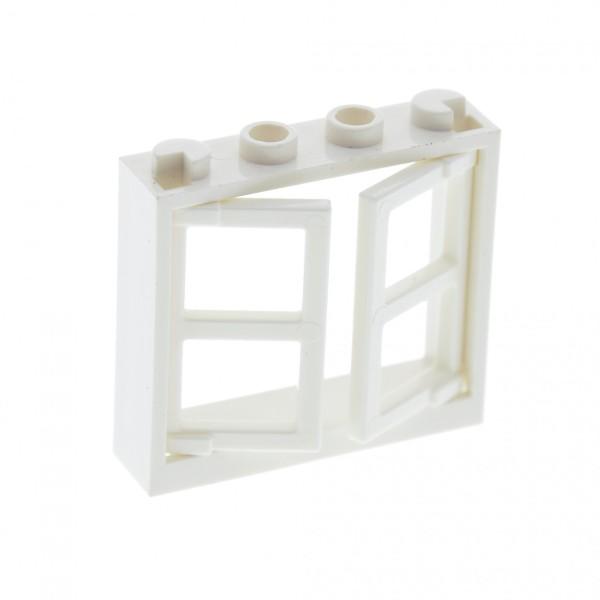 1 x Lego System Fenster Rahmen weiss 1x4x3 mit 2 Flügel Fensterläden weiss dick 1x2x3 Dach Haus 60608 60594