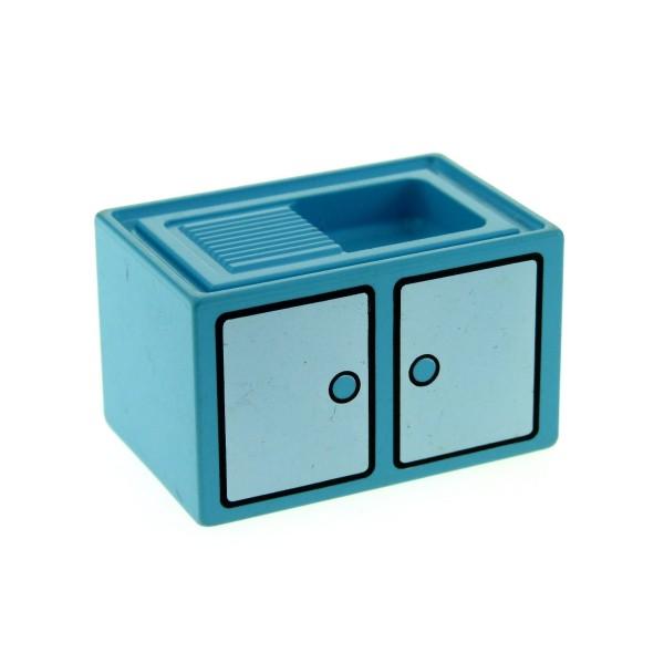 1 x Lego Duplo Möbel Spüle hell blau Waschbecken Puppenhaus Schrank Tür Aufdruck Küche 4906pb01