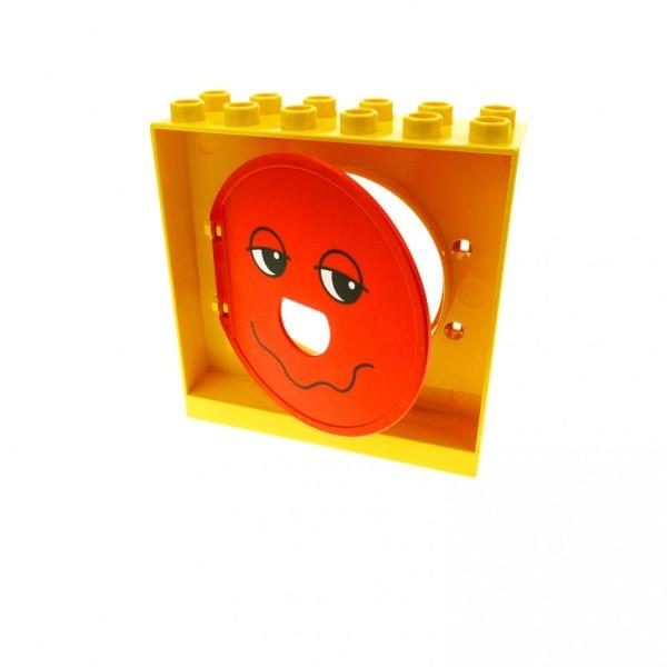 1 x Lego Duplo Kugelbahn Halter gelb 2x6x5 Tür Tor Klappe rot mit Gesicht Röhre 31193pb08 4114704 31191